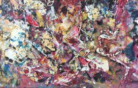 Danse avec moi, 2004, techniques mixtes sur bois, 30,48cm x 60,96cm