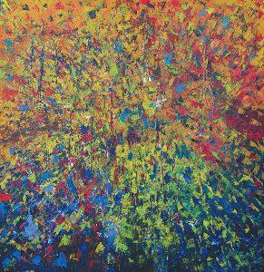 Explosion, 1995, acrylique sur bois, 121,92cm x 121,92cm