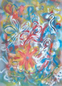 Fleurs, 2002, Acrylique en aérosol sur toile, 91,44cm x 121,92cm