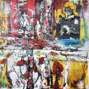 Inspiration BD, 2014, techniques mixtes sur toile, 76,2cm x 76,2cm