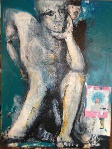 Le penseur, 2018, techniques mixtes sur toile, 91,44cm x 121,92cm