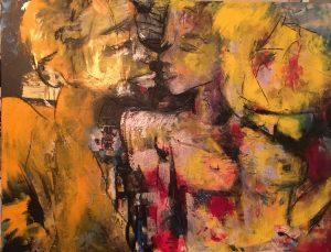 Les amoureux, 2018, acrylique sur toile, 91,44cm x 121,92cm