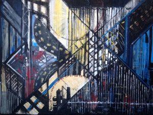 Reflet d'une ville#1, 2007, techniques mixtes sur toile, 121,92cm x 182,88cm