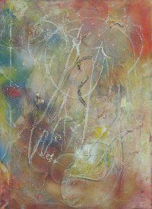 Suspendu, 2001, techniques mixtes sur toile