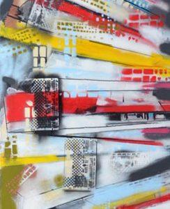 Reflet dune ville #5 - techniques-mixtes-sur toile 60,96cm x 228,6cm